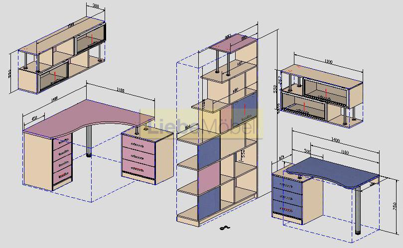Схема мебель в детскую